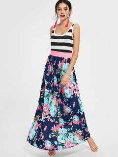 U Neck Striped Floral Print Maxi Dress - Floral S