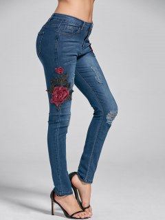Embroidery Skinny Ripped Jeans - Denim Blue Xl