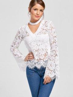 Flare Sleeve Choker Neck Lace Blouse - White 2xl