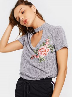 Floral Embroidered Knitted Choker Top - Gray S