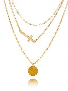 Crucifix Circle Disc Pendant Layered Necklace - Golden