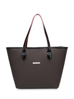 Faux Leather Metal Embellished Shoulder Bag - Black