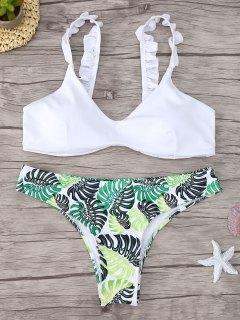 Ensemble De Bikini Imprimé à Volants - Blanc S