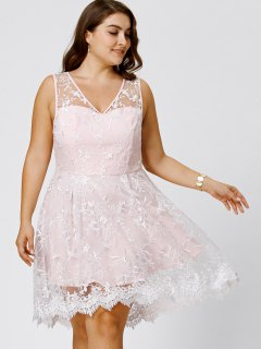 Plus Size Sleeveless Embroidery Skater Dress - Pinkbeige 2xl