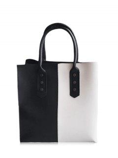 Metal Embellished Two Tone Tote Bag - Black White