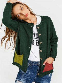 Floral Embroidered Button Up Cardigan - Deep Green