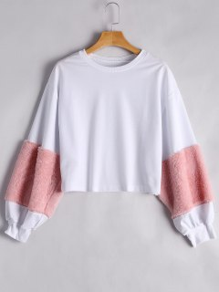 Puff Sleeve Faux Fur Embellished Sweatshirt - Pink S