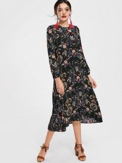 Cut Out Floral Print Long Sleeve Dress - Floral L