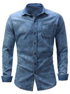 Turndown Collar Pocket Effet Blanchi Chambray Shirt - Denim Bleu M