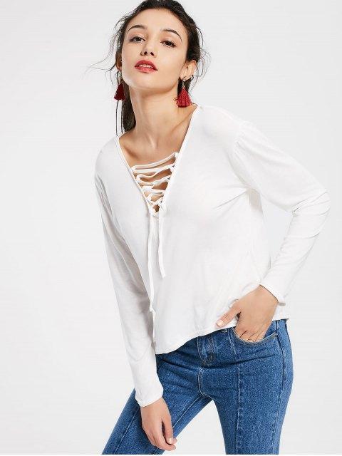 T-shirt Haut-Bas à Laçages Col Plongeant - Blanc M Mobile