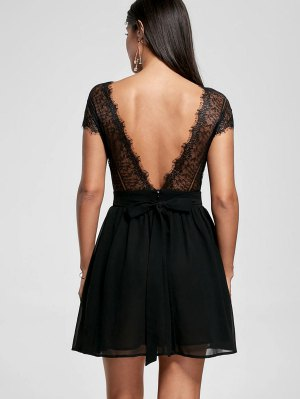 Lace Yoke Open Back Skater Dress