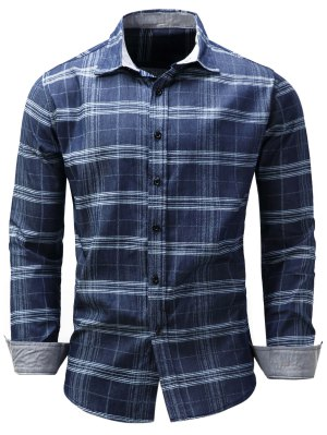Turndown Collar Tartan Chambray Shirt