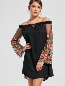 فستان توهج الأكمام بلا اكتاف مطرز - أسود M