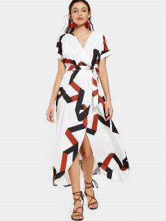 Robe Maxi Surplis Géométrique Avec Ceinture - Blanc 2xl