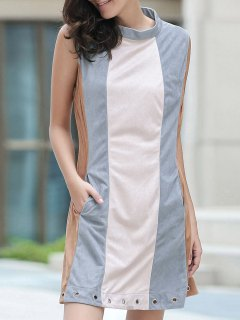 Cut Out Hit Color Round Neck Sleeveless Dress - Blue Gray M