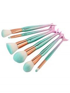 6Pcs Face Eye Ombre Mermaid Handle Makeup Brushes - Pinkish Blue