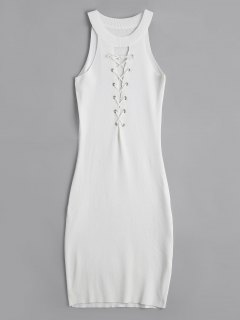 Knitting Lace Up Bodycon Dress - White
