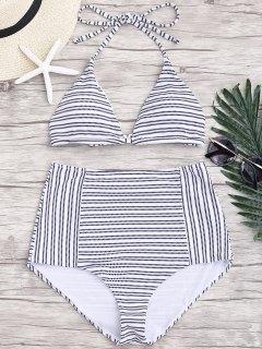 Striped Halter High Waisted Bikini - Stripe M