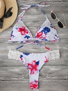 Bralette Floral Crochet Panel Bikini - White S