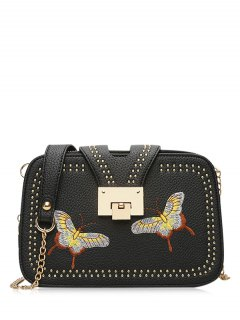 Studded Embroidery Chain Crossbody Bag - Black