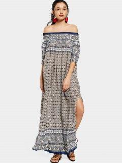 Printed Slit Off Shoulder Maxi Dress - Purplish Blue