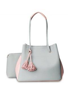 Tassels Colour Block Shoulder Bag Set - Light Gray