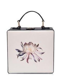 Floral Print Box Shaped Crossbody Bag - Off-white