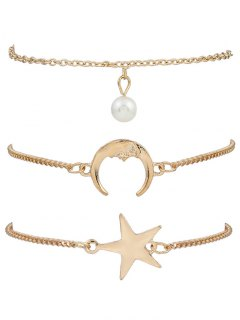 3 Pieces Moon Star Bracelets - Golden