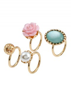 4 Pieces Rose Faux Gem Rings - Golden