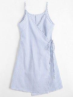 Cami Striped Wrap Dress - Blue M