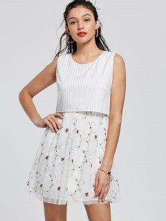 Embroidery Striped Mini Popover Dress - White S