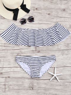 Stripe Ruffles Off The Shoulder Bikini Set - White M