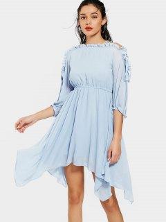 Ruffles Lace Up Flowy Chiffon Dress - Light Blue S