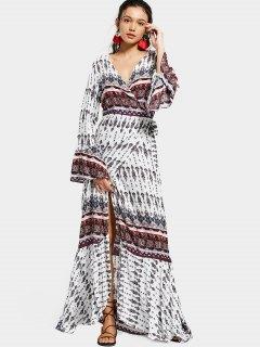 Print Flare Sleeve Wrap Maxi Dress - White