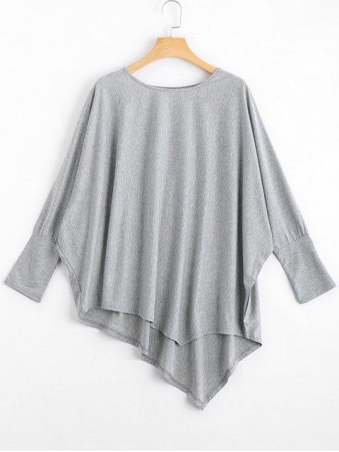 T-shirt Asymétrique Manches Dolman - Gris TAILLE MOYENNE Mobile