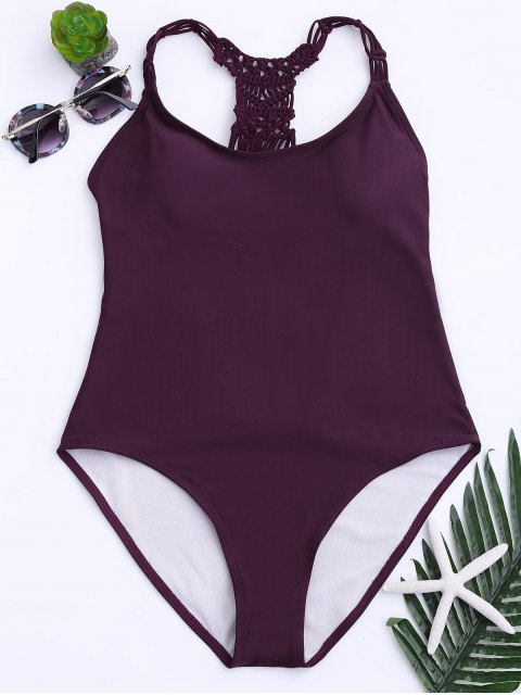 online Strappy Cutout One Piece Swimsuit - WINE RED S Mobile