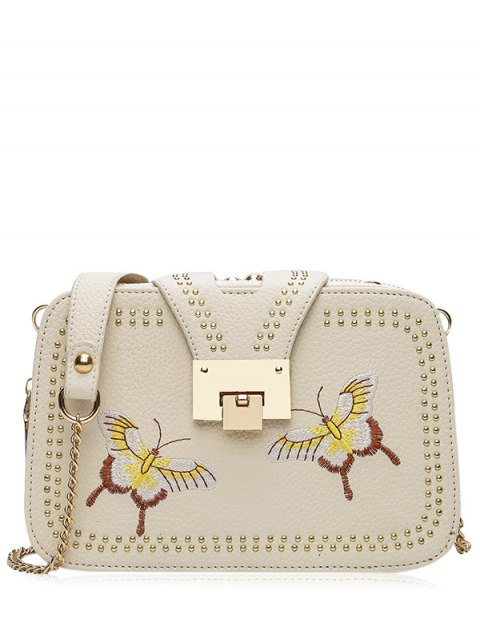 unique Studded Embroidery Chain Crossbody Bag - PALOMINO  Mobile