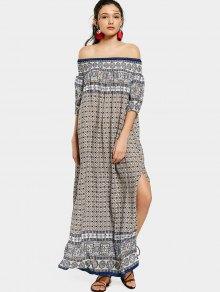 مطبوعة الشق قبالة الكتف فستان ماكسي - الأرجواني الأزرق