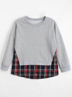 Loose Checked Panel Sweatshirt - Light Gray S