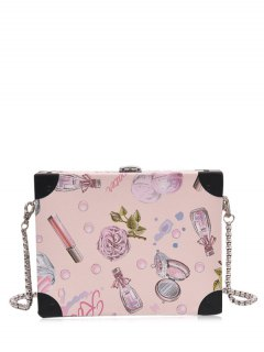 PU Leather Floral Print Crossbody Bag - Light Pink
