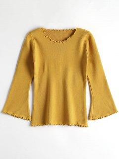 Sweater Manches Évasées Roulotté - Jaune