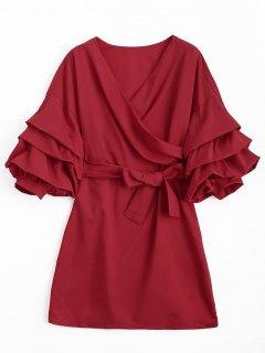 Robe Mi-longue En Mousseline - Rouge S