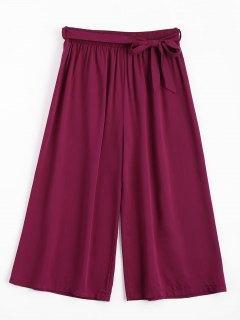 Capri High Waisted Belted Wide Leg Pants - Purplish Red