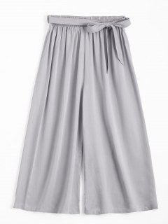 Capri High Waisted Belted Wide Leg Pants - Gray