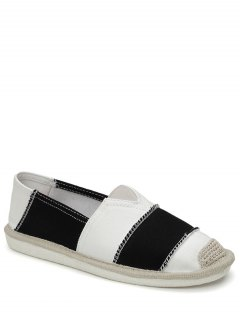 Elastic Band Striped Canvas Flat Shoes - Black 39