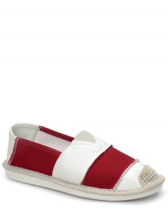 Elastic Band Striped Canvas Flat Shoes - Red 38