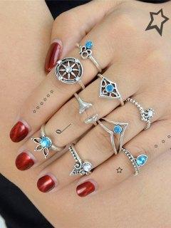 Faux Crystal Mermaid Tail Teardrop Ring Set - Silver