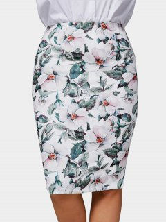 Plus Size Floral Pencil Skirt - Multicolor 4xl