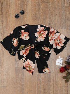 Knotted Flower Cover Up Top - Black M