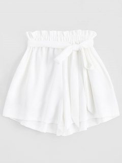 Smocked Belted High Waisted Shorts - White